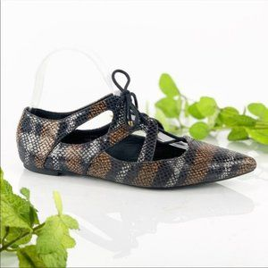 TopShop Ghillie Flats Pointed Snake Print in Brown